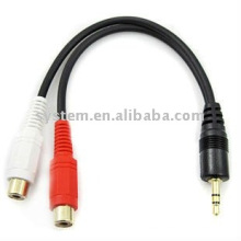 3.5mm stereo male to 2 RCA female cable adapter