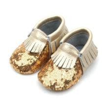 Wholesale Fashion Children Shoes Baby Sequin Moccasins