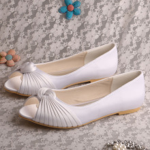 White+Bridesmaid+Flat+Shoes+Peep+Toe