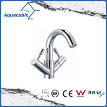 Grifo de lavabo de latón sólido de doble palanca en cromo polaco (AF6000-6C)