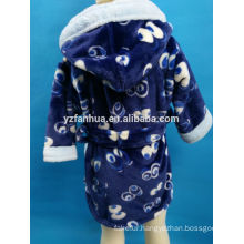 Wholesale printed Hooded Navy Blue Coral fleece bathrobe for Winter Warm Wear