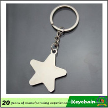 Keychain blanc promotionnel d'étoile en métal de cadeau avec le laser de logo gravé