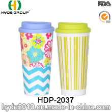 Wholesale Double Wall Printing Plastic Insulated Coffee Mug (HDP-2037)