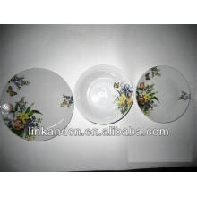 Haonai 12pcs white fancy artwork decal dinner plate sets
