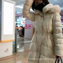 Ladies' new long adjustable waist slim double real fox fur collar hooded down coat