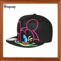 Black Embroidery Snapback Flat Peak Caps