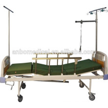 2 crank manual medical bed with protection bed rail and mosquito net support