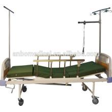 2 manivela manual cama médica com trilho de cama de proteção e suporte de mosquito net