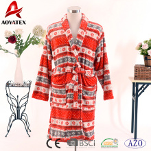 Wholesale price colorful beautiful printed coral fleece plush women bathrobe