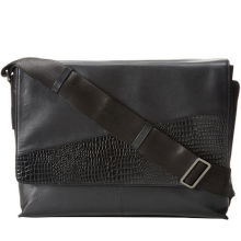 Leather Block Crocodile Mens Leather Briefcase Bag , Black Fashion Shoulder Bags