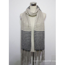 Lady Fashion Contract Color Acrylic Knitted Fringed Winter Scarf (YKY4390)