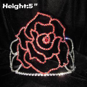5in Rose Flower Valentines Crystal Crowns