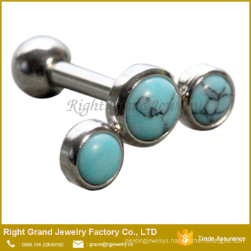 Turquoise Stone Helix Cartilage Barbell 3 Turquoise Stone Ear Tragus Piercing