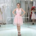 Latest Party Wear V neck Pink Color Mini Short Big Girls Evening Party Dress