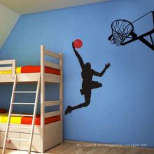 Etiqueta engomada desprendible casera de las decoraciones del Pvc de la pared de los niños de la impresión del baloncesto