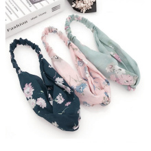 fashion new style accessories floral silk print headband for girls hair decor chinese knot womens hairband