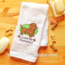 100% coton brodé serviette de bain serviette de bain chien Wiener - bt-086