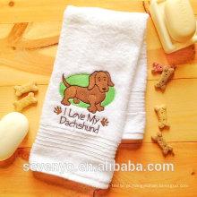 Toalha de banho de cão de Wiener de toalha de cão bordada de algodão 100% - bt-086