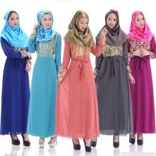 2015 Latest Fashion Long Sleeve Chiffon Muslim Abaya Dress