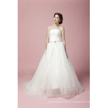 Más nuevo glamoroso bordado A-línea de encaje sin mangas y sin mangas de piso de longitud vestido de novia de encaje AS28102