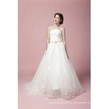 Новейшие гламурные вышитые-line милая декольте рукавов этаж-Длина кружева свадебное платье AS28102