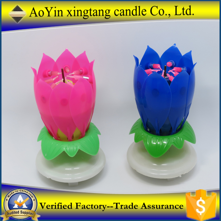 Happy Birthday Gift Lotus Music Rotating Candle