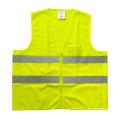 Malha amarela fluorescente e colete de segurança reflexivo sólido com bolso de PVC