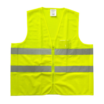 Fluorescent yellow mesh and solid reflective safety vest with PVC pocket