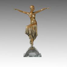 Danse Statue Longue Robe Fille Bronze Sculpture, DH Chiparus TPE-171