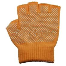 NMSAFETY gant tricoté demi-doigts avec points PVC blancs sur un côté