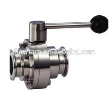 Sanitary Stainless Steel Válvula de esfera de três peças