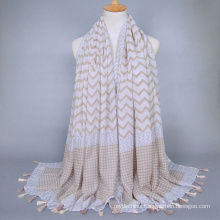 Multicolor grace wave pattern tassels voile stole Malaysia hijab shawl scarf factory china