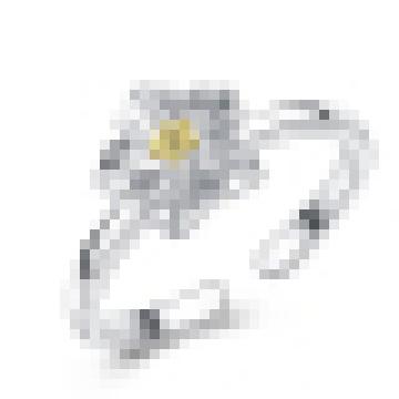 Anillo de apertura en forma de crisantemo de plata de ley 925 para niña