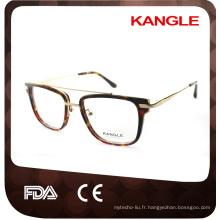 Gentleman grande taille Nouvelle conception vente chaude Acétate de mode avec des lunettes optiques de pont métallique et des lunettes de lunettes en acétate