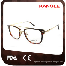 Gentleman big size Newest design hot seller Fashion acetate with metal bridge optical glasses & acetate eyeglasses eyewear