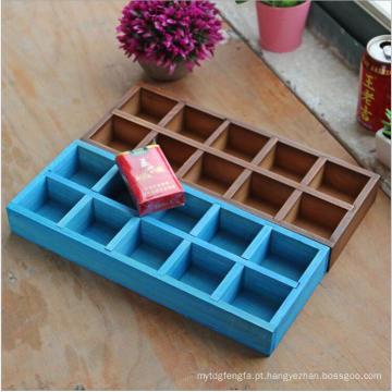 Personalize a caixa de armazenamento de madeira decorativa colorida do ornamento do Natal das pilhas do logotipo 10