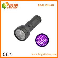 Venta al por mayor de fábrica de aluminio 370-375nm luz ultravioleta 51 llevó linternas UV para el clavo de gel