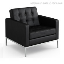 Vintage Metal Steelsingle Commercial Black Leather Sofa (SP-CS105)