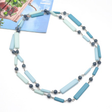 2021 blue color double layer resin acrylic necklace women long plastic round beads link chain necklace