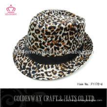 Маленькая девочка Мода дешево Leopard fedora hat