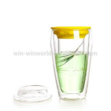 Taza de vidrio resistente al calor Winwin World Double Wall con tapa de vidrio 400ml