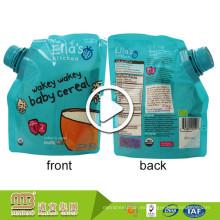 La bolsa por encargo del canalón de la cuchara del paquete de los alimentos para niños libres de BPA se levanta con la boca de la succión