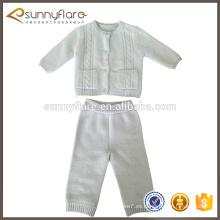 nuevo diseño moda bebé blanco niños suéter pantalones setsater