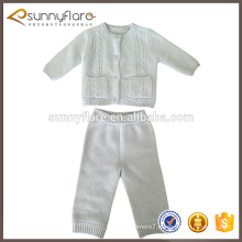 new design fashion white baby kids sweater pants setsater