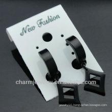 2014 Fashion mens Black huggie hoop earrings Wholesale HE-087-3