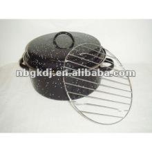 pote de esmalte assado com tampa de esmalte e grade S / S