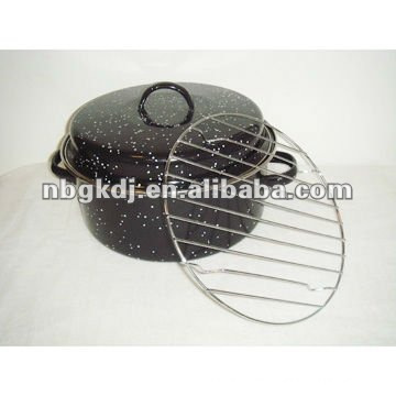 enamel baking pot with ss rim and ss201 or ss304 grid
