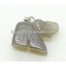 Colgante de elefante de ágata gris natural de alta calidad Pendiente de piedra semi preciosa