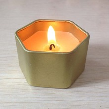 Hexagon tin cawan soya lilin wangi lilin