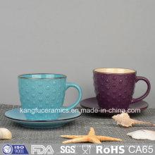 Taza de café de cerámica colorida del esmalte
